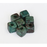 7mm Cube Matte Ceramic Beads, Teal Khaki Mix, Pack of 10