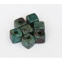7mm Cube Matte Ceramic Beads, Teal Khaki Mix, Pack of 10