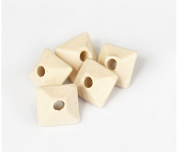 10mm Pillow Matte Ceramic Beads, Ecru