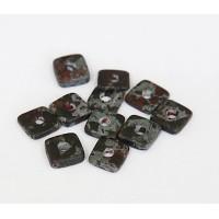 8mm Square Heishi Disk Matte Ceramic Beads, Teal Khaki Mix