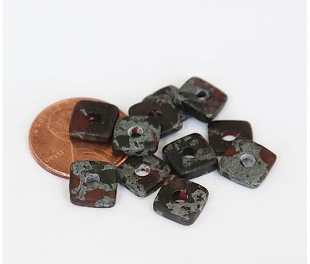 8mm Square Heishi Disk Matte Ceramic Beads, Teal Khaki Mix, Pack of 20