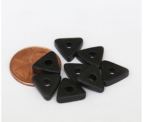 10mm Triangular Heishi Disk Matte Ceramic Beads, Black, Pack of 20