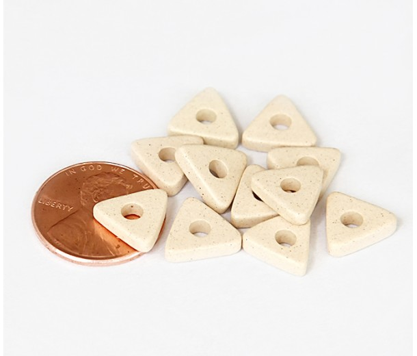 10mm Triangular Heishi Disk Matte Ceramic Beads, Ecru, Pack of 20