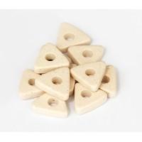 10mm Triangular Heishi Disk Matte Ceramic Beads, Ecru, Pack of 20
