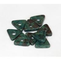 10mm Triangular Heishi Disk Matte Ceramic Beads, Teal Khaki Mix