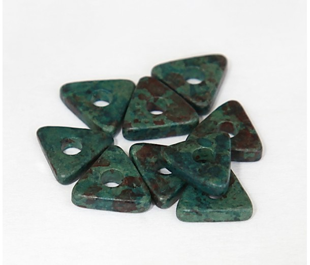 10mm Triangular Heishi Disk Matte Ceramic Beads, Teal Khaki Mix