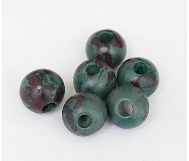 12mm Round Matte Ceramic Beads, Teal Khaki Mix