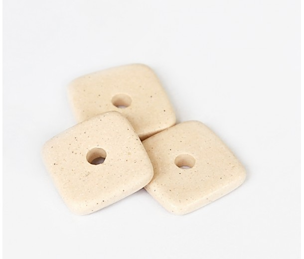 12mm Square Disk Matte Ceramic Beads, Ecru, Pack of 3