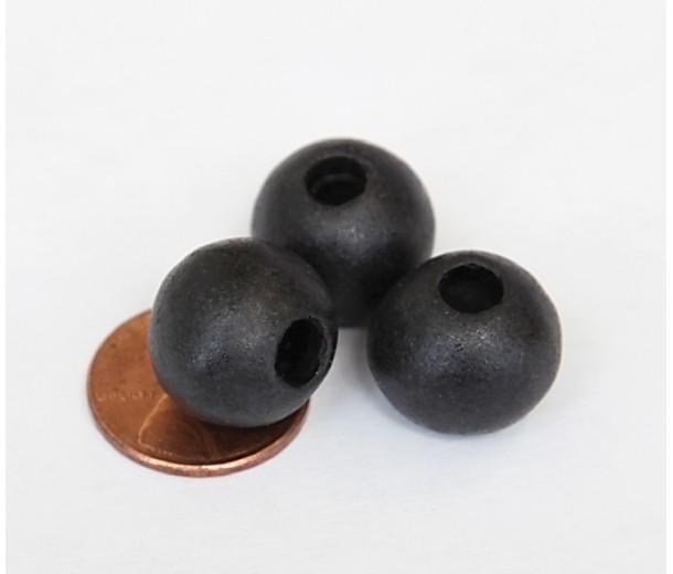 12mm Round Matte Ceramic Beads, Black