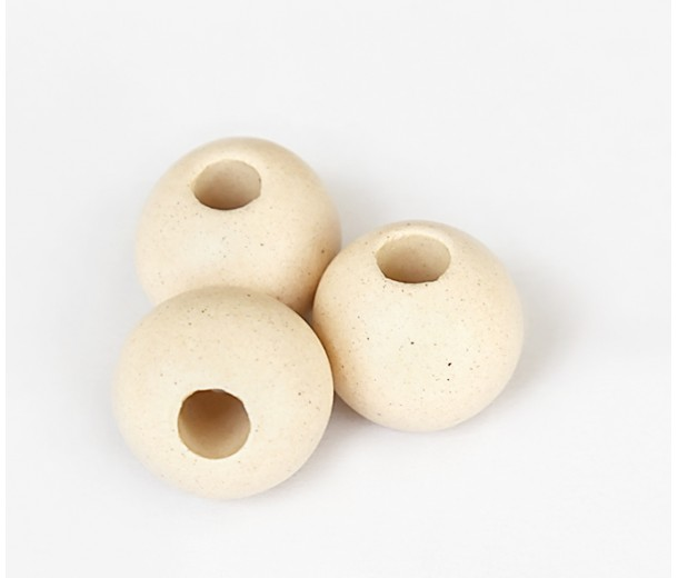 12mm Round Matte Ceramic Beads, Ecru, Pack of 5