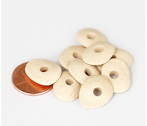 18x4mm Cornflake Matte Ceramic Beads, Ecru, Pack of 6