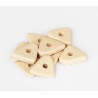 14mm Big Chip Matte Ceramic Beads, Ecru, Pack of 5