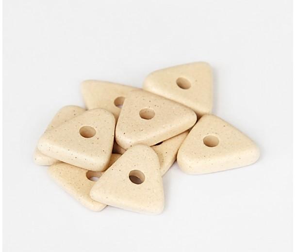 14mm Big Chip Matte Ceramic Beads, Ecru