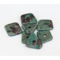 14mm Big Chip Matte Ceramic Beads, Teal Khaki Mix, Pack of 5