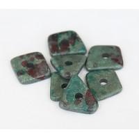 14mm Big Chip Matte Ceramic Beads, Teal Khaki Mix, Pack of 5