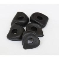 16x6mm Nugget Matte Ceramic Beads, Black, Pack of 3