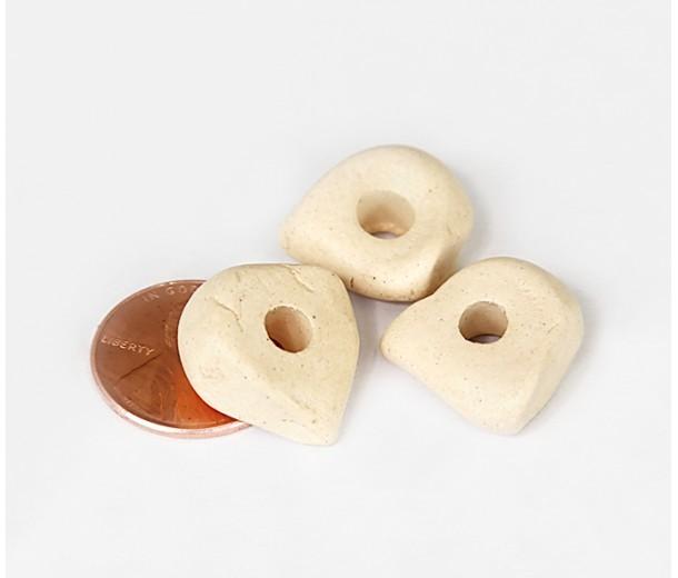 16x6mm Nugget Matte Ceramic Beads, Ecru