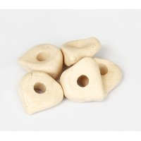16x6mm Nugget Matte Ceramic Beads, Ecru, Pack of 3