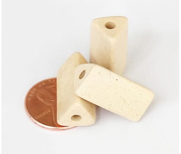 20x10mm Triangle Tube Matte Ceramic Beads, Ecru, Pack of 2