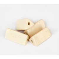 20x10mm Triangle Tube Matte Ceramic Beads, Ecru