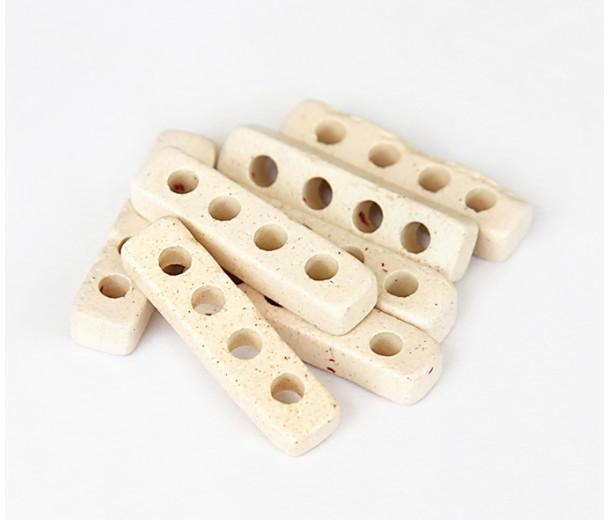 25x6mm 4 Hole Spacer Matte Ceramic Bead, Ecru, 1 Piece