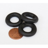 24mm Ring Matte Ceramic Bead, Black, 1 Piece
