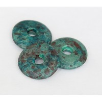 25mm Large Disk Matte Ceramic Bead, Teal Khaki Mix, 1 Piece