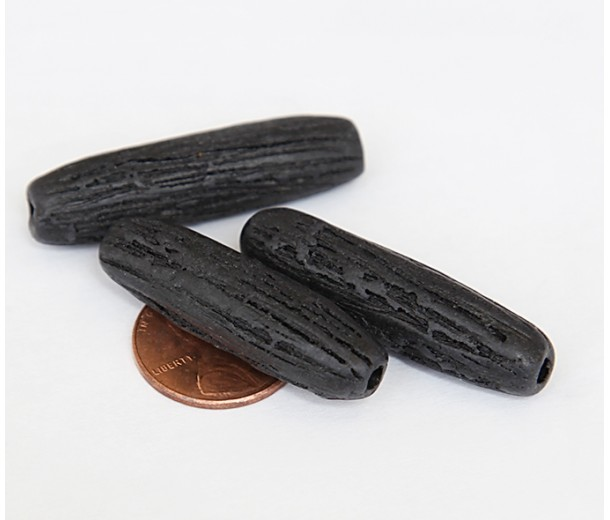 44mm Grooved Column Matte Ceramic Beads, Black