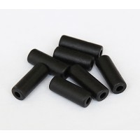 16x7mm Thick Tube Matte Ceramic Beads, Black, Pack of 10
