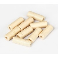 16x7mm Thick Tube Matte Ceramic Beads, Ecru, Pack of 7