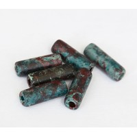 16x7mm Thick Tube Matte Ceramic Beads, Teal Khaki Mix