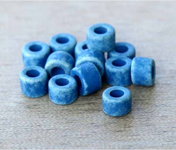 6x4mm Mini Barrel Matte Ceramic Beads, Denim Blue, Pack of 20