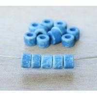 6x4mm Mini Barrel Matte Ceramic Beads, Denim Blue