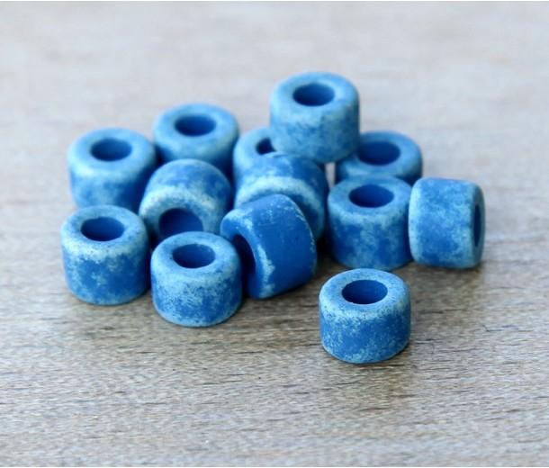 6x4mm Mini Barrel Matte Ceramic Beads, Denim Blue, Pack of 20