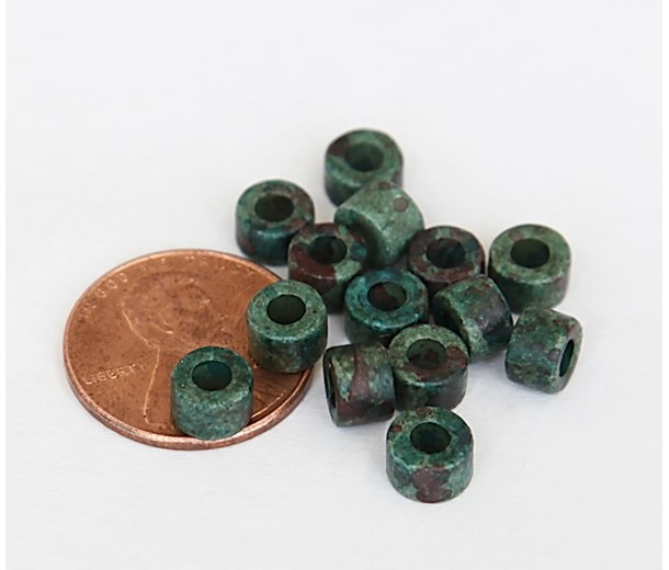 6x4mm Mini Barrel Matte Ceramic Beads, Teal Khaki Mix, Pack of 20