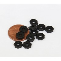 8mm Gear Matte Ceramic Beads, Black, Pack of 20