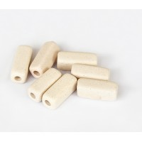 16x7mm Brick Matte Ceramic Beads, Ecru, Pack of 6
