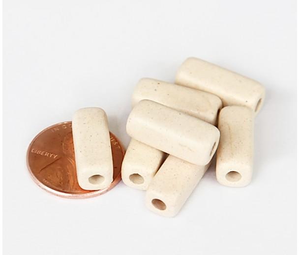 16x7mm Brick Matte Ceramic Beads, Ecru, Pack of 6