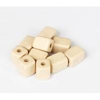 10x8mm Brick Matte Ceramic Beads, Ecru