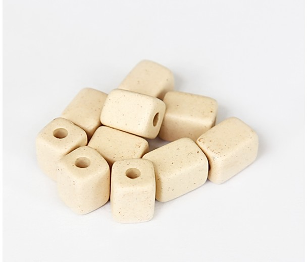 10x8mm Brick Matte Ceramic Beads, Ecru