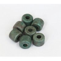 8x7mm Short Barrel Matte Ceramic Beads, Teal Khaki Mix, Pack of 8