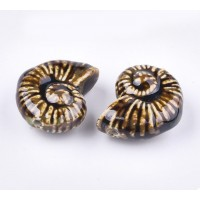 40x30mm Oversized Nautilus Shell Ceramic Bead, Coffee Brown