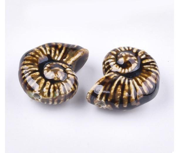 40x30mm Oversized Nautilus Shell Ceramic Bead, Coffee Brown