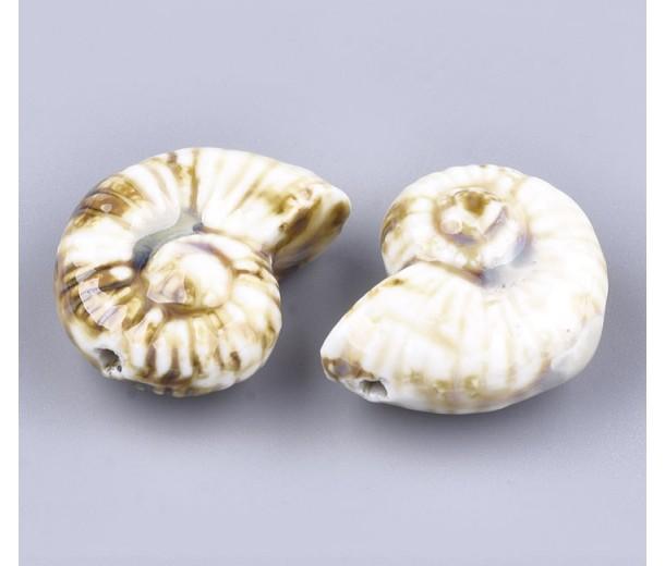 40x30mm Oversized Nautilus Shell Ceramic Bead, Beige