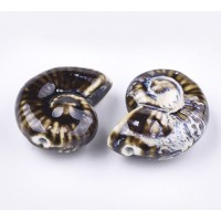 40x30mm Oversized Nautilus Shell Ceramic Bead, Dark Brown