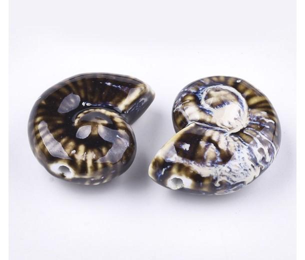 40x30mm Oversized Nautilus Shell Ceramic Bead, Dark Brown