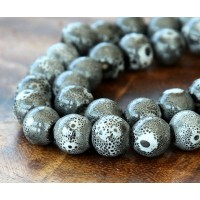 10mm Round Ceramic Beads, Fancy Grey