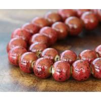 10mm Round Ceramic Beads, Tomato Red, Pack of 20