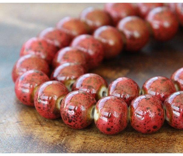 10mm Round Ceramic Beads, Tomato Red