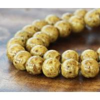 8mm Round Ceramic Beads, Mustard Yellow